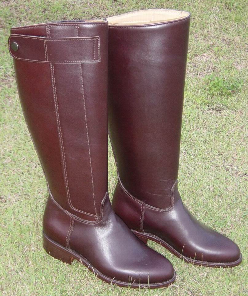 (click to enlarge) Dark Brown Kenyan Polo Boot with velcro-snap buckle